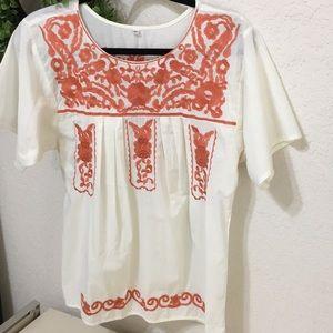 Cream & orange floral embroidered blouse